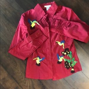 Red blouse w detailed patch work